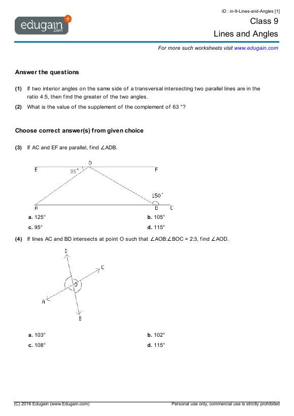 Grade 9 Math Worksheets and Problems Lines and Angles – 9th Grade Math Worksheets and Answers
