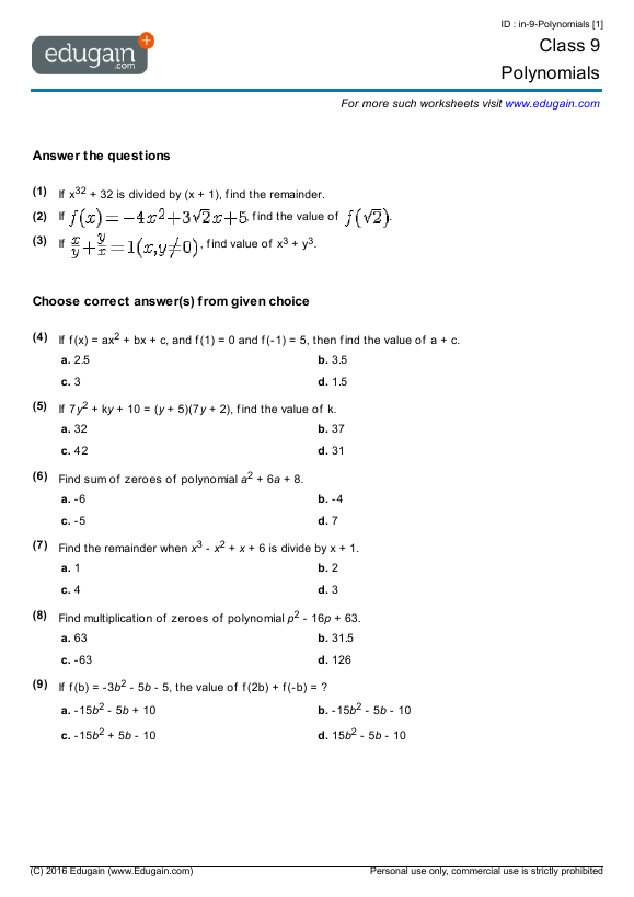 Grade 9 Math Worksheets and Problems Polynomials – Maths for Year 9 Worksheets