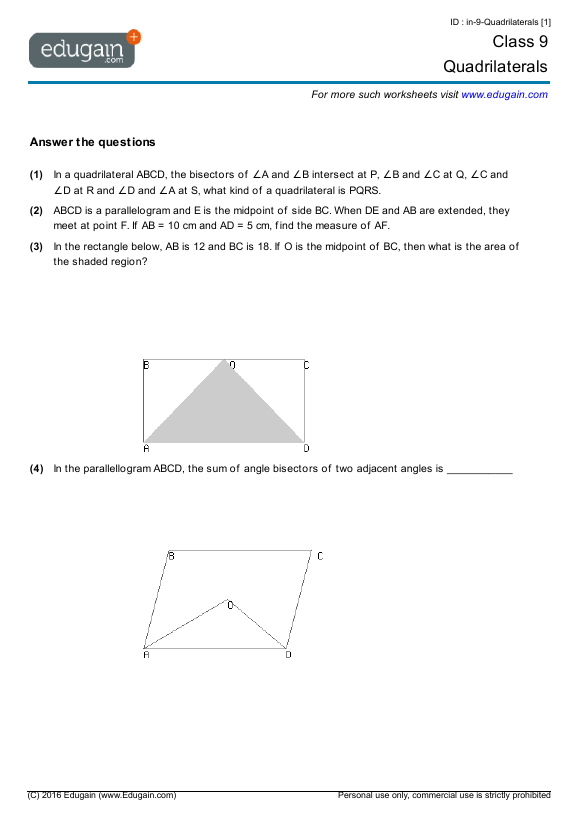 Grade 9 Math Worksheets and Problems Quadrilaterals – Angles in Quadrilaterals Worksheet