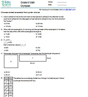 Grade 6 Math Worksheets and Problems: Olympiad : EduGain Global